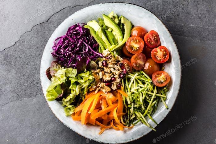 Buddha bowl. Vegetables nuts salad