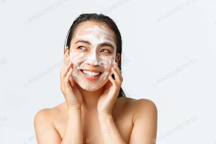 Skincare, women beauty, hygiene and personal care concept. Close-up of beautiful naked asian female