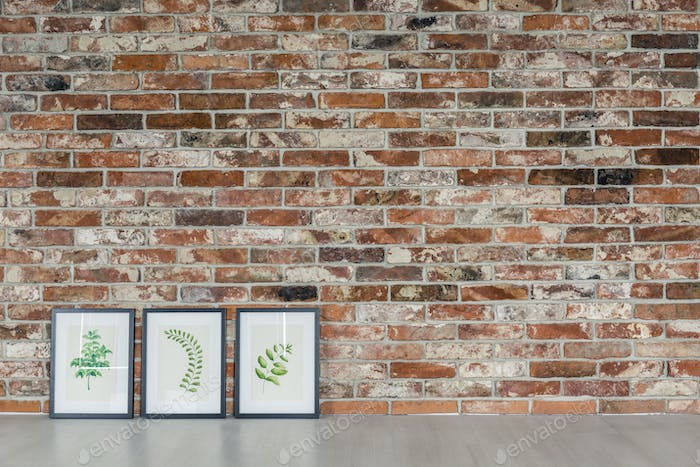 Brick wall and leaves paintings