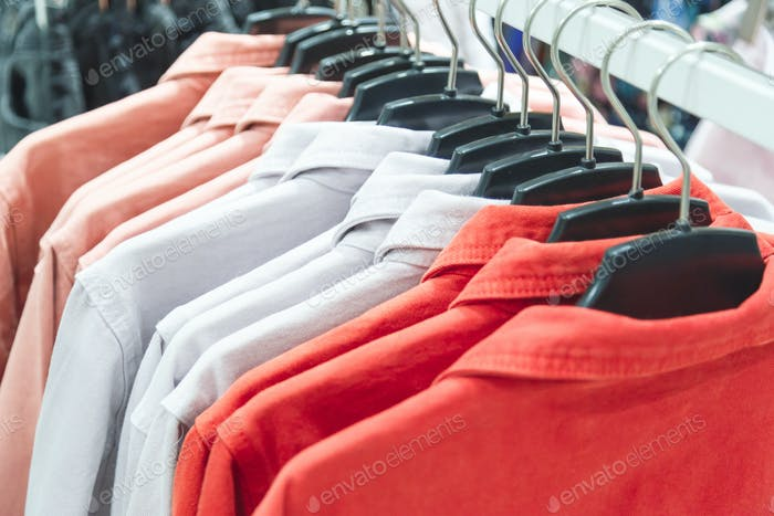 row of colorful summer jackets