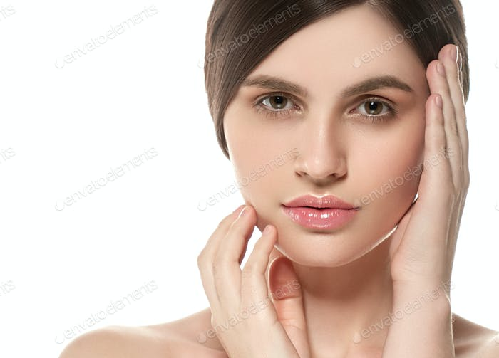 Beautiful Woman Face Portrait Beauty Skin and Eyes Close Up