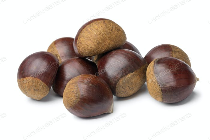 Heap of sweet chestnuts close up