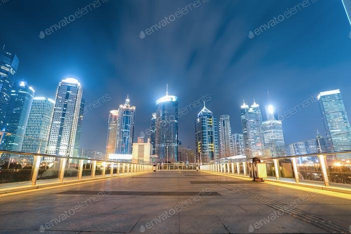 shanghai skyline with pedestrian bridge