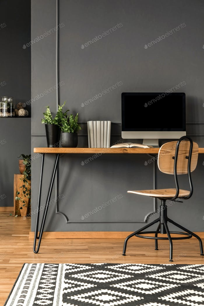 Grey scandi workspace interior