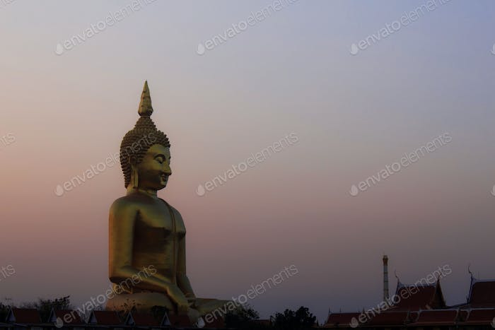 Buddha with the evening