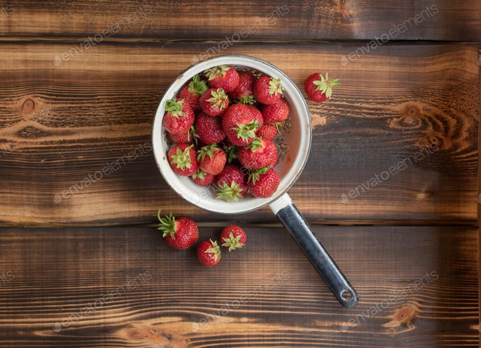 Strawberry in a colander