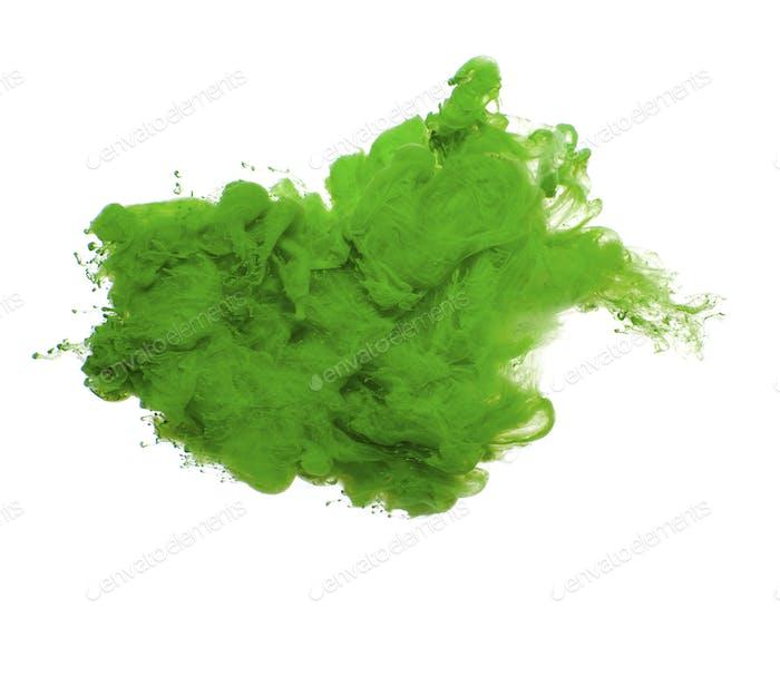 Abstrakt von grüner Acrylfarbe in Wasser.
