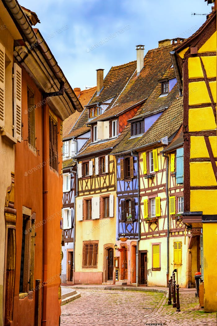 Colmar, Petit Venice, narrow street and traditional houses. Alsa