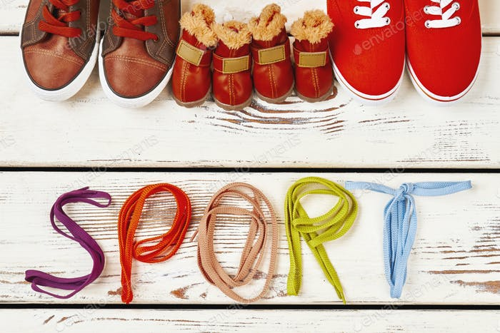 Shoelaces and family sport shoes