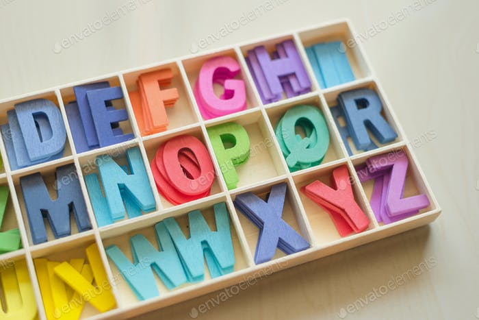 Colorful wooden alphabet box set