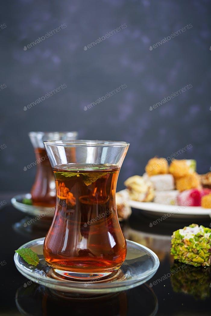 Turkish delights lokum on dark background