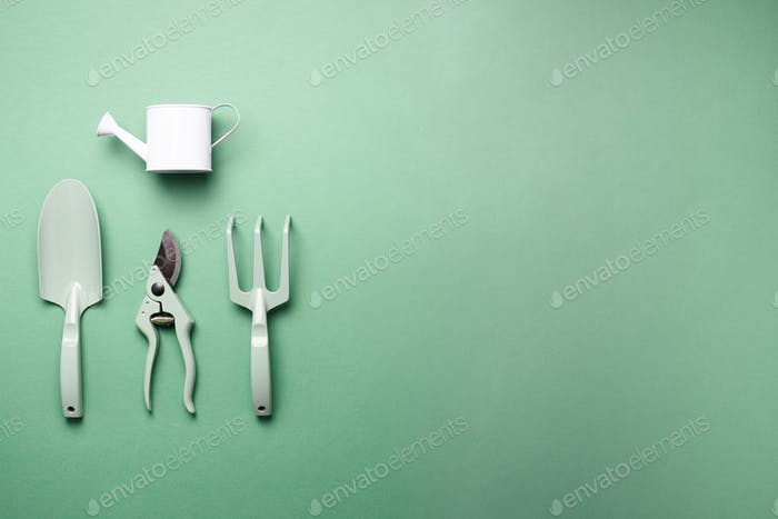 Gardening tools and utensils on green background. Top view with copy space. Pruner, rake, shovel