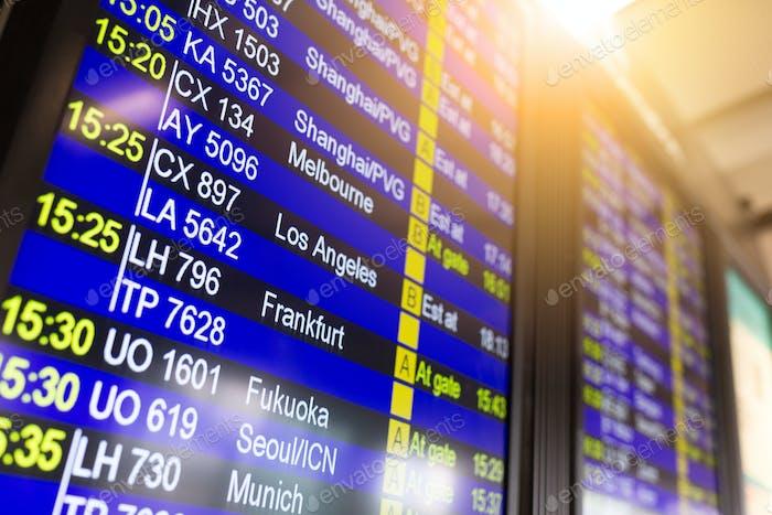 Auskunft-Infotafel im Flughafen
