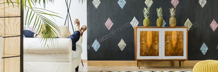 Modern room with blackboard wall