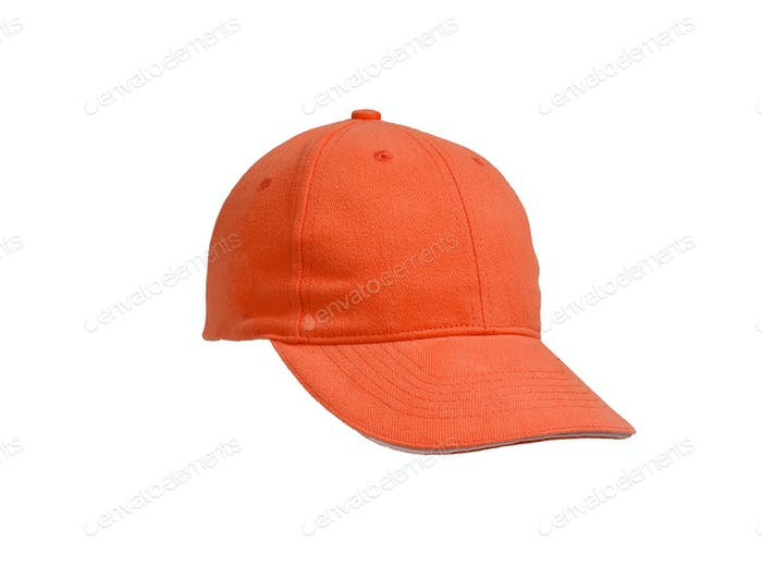 New Orange Baseball Cap isolated on white background