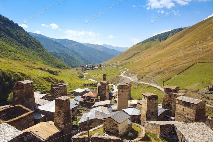 Landscape view of Ushguli village towers and mountains, Svaneti, Georgia