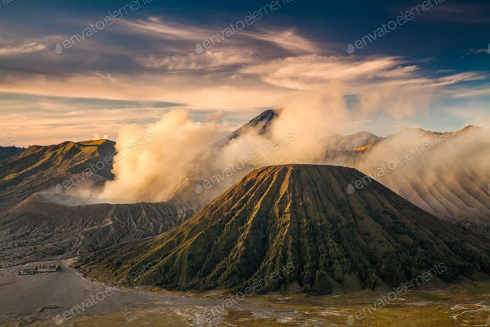 Mount Bromo volcano Gunung Bromo during sunrise Bromo, East Java, Indonesia.