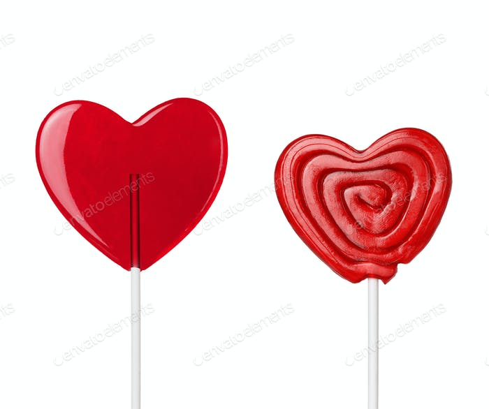 two red heart-lollipops isolated