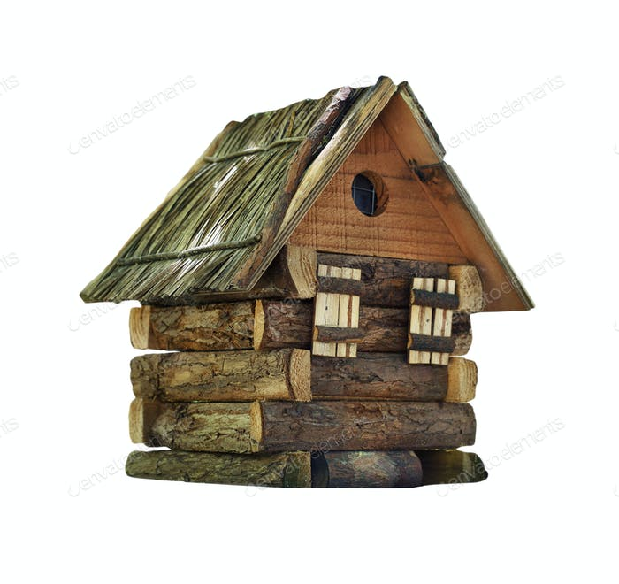 Model of simple village wooden log house isolated on white