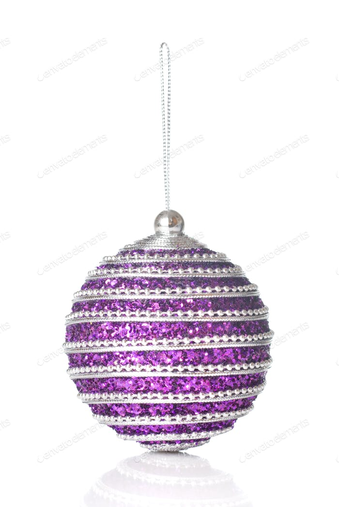pink christmas ball isolated on white