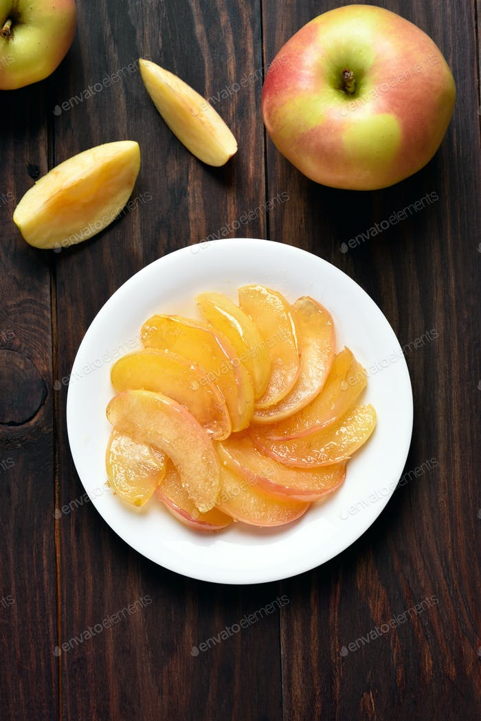 Caramelized apple slices on plate