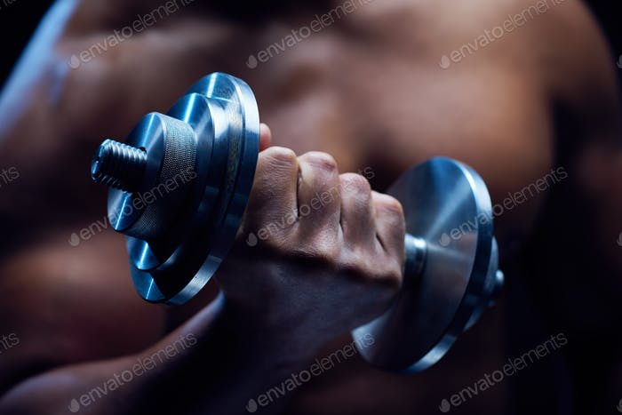 Hand with barbell