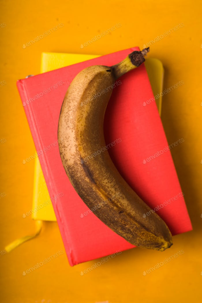 Banana on the colorful background top view