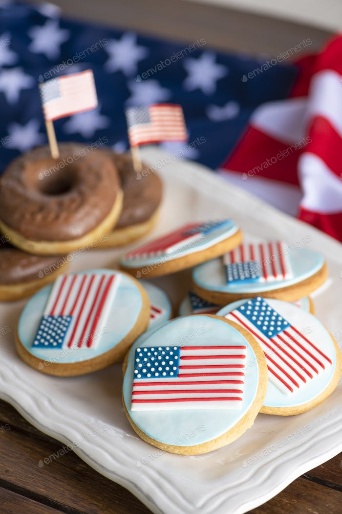 Porcelain Plate with Cookies like American flag icing and chocolate donuts