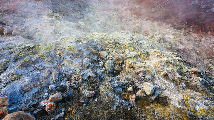 Oberfläche in der Nähe von Geysir in Landmannalaugar in Island