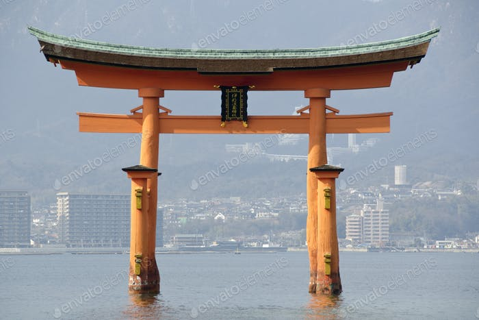 Tori gate at Itsukushima Shrine
