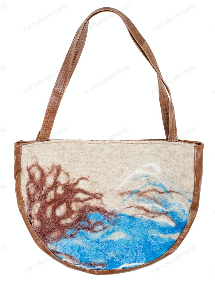 felt and leather handbag decorated of landscape