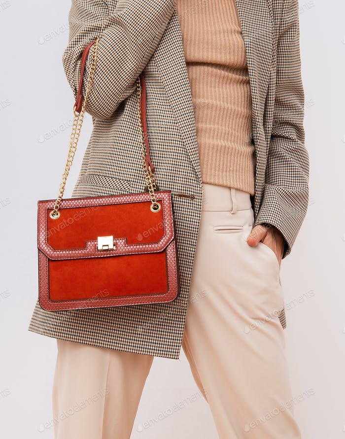 Paris Lady in fashion elegant outfit. Trendy  plaid blazer and trousers. Red velvet clutch.