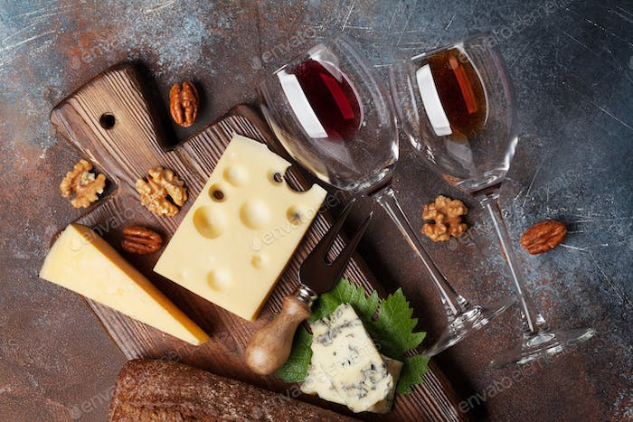 Wine, nuts and cheese