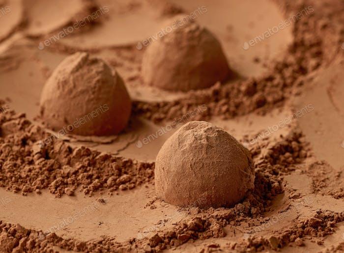 chocolate truffles on cocoa powder background