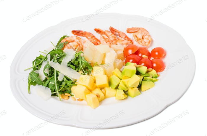 Jumbo shrimp salad with avocado and mango.