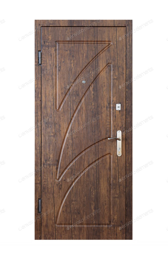 Palisander wooden closed door isolated on white