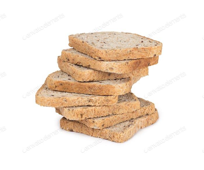Brotscheiben auf weißem Hintergrund isoliert