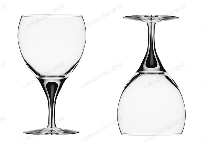Empty wine glasses. isolated