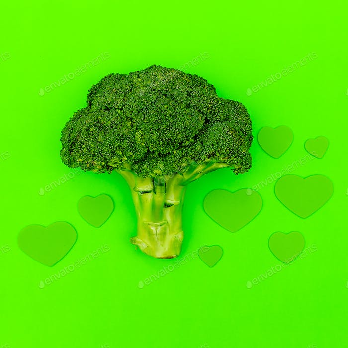 Broccoli cabbage and hearts. Love Raw minimal art
