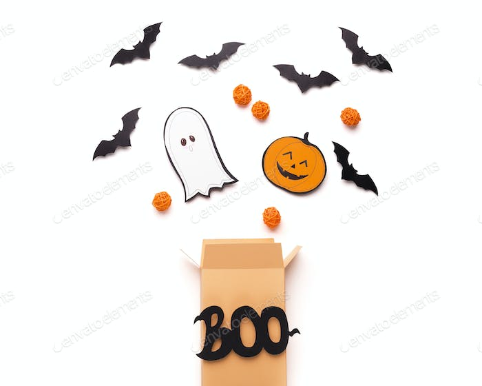 Open boo box with flying outside Candies, bats and ghosts