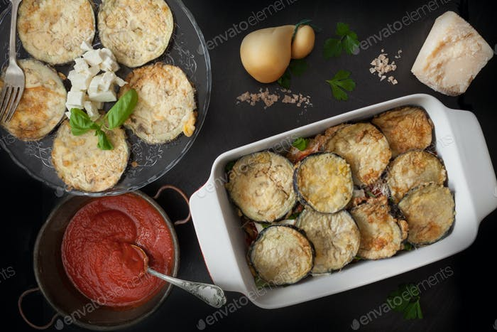 Fried Eggplant In Baking Pan With Parmigiana