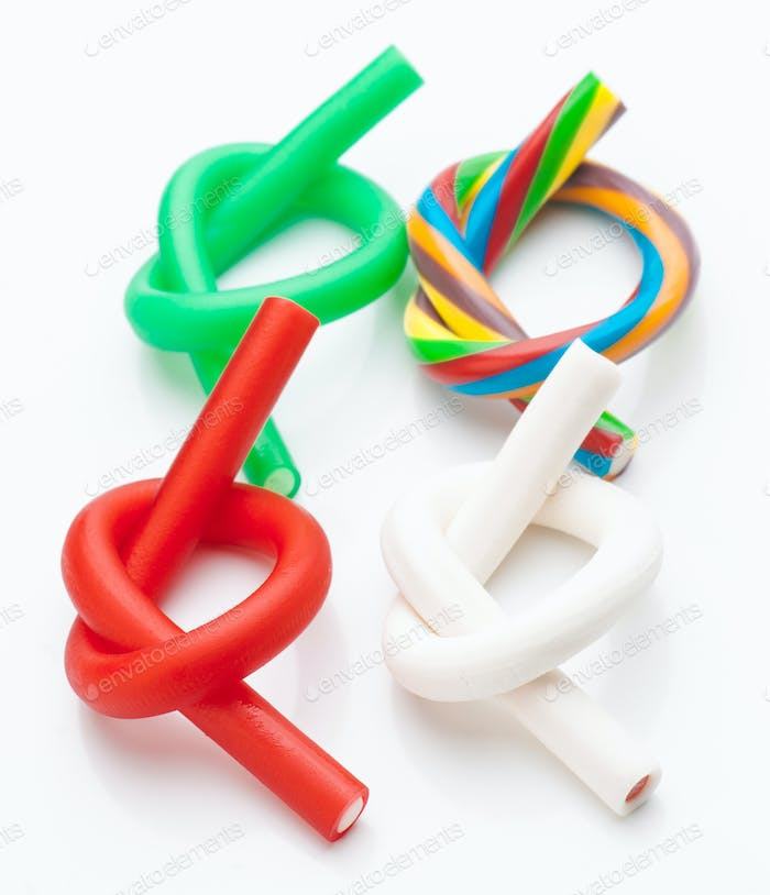 ties rods colored soft licorice