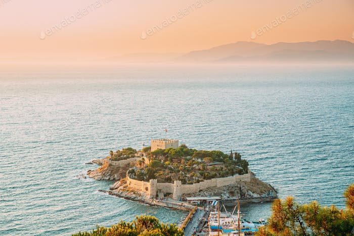Kusadasi, Aydin Province, Turkey. Top View Of The Pigeon Island. Old 14th-15th Century Fortress On