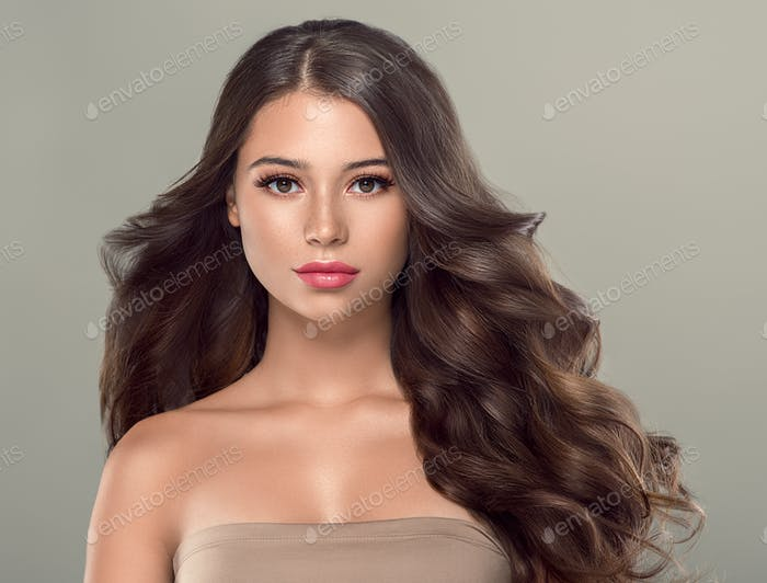 Long curly hairstyle female woman portrait