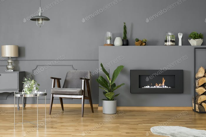 Black fireplace between plant and firewood in grey living room i