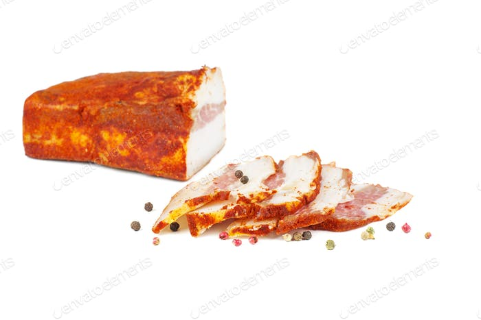 Traditional Ukrainian food - salo with paprika. isolated on a white background