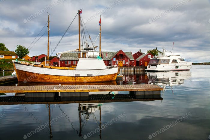 traditional fisherman houses rorbu and boats at Haholmen island,
