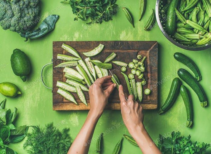 Flat-lay of healthy green vegan cooking ingredients