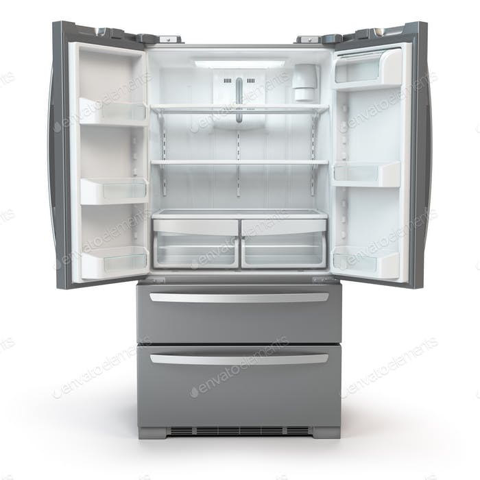 Open fridge freezer. Side by side stainless steel srefrigerator