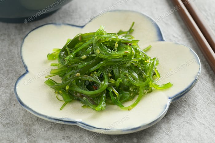 Dish with Japanese Waskame salad